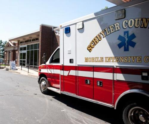 Schuyler county ambulance parked in front of Culbertson Hospital